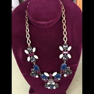 JCrew Grey Navy Purple Rhinestone Gold Necklace